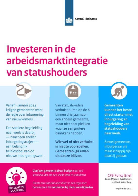 Investeren in arbeidsintegratie van statushouders - CPB